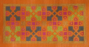click here to view larger image of Indian Tile Motif On Orange (hand painted canvases)
