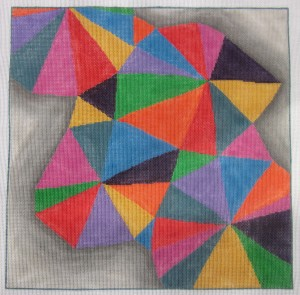 click here to view larger image of Colorful Triangles (hand painted canvases)