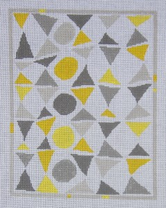 click here to view larger image of Color Study - Grey and Yellow Triangles and Circles (hand painted canvases)
