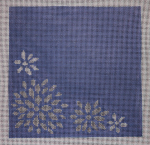 click here to view larger image of Silver Flowers On Blue Background (hand painted canvases)