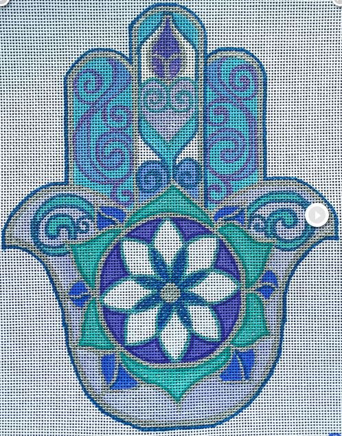 click here to view larger image of Frosty Hamsa (hand painted canvases)