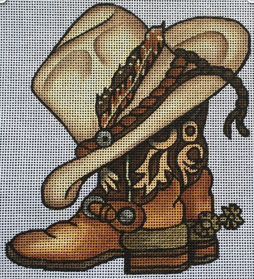click here to view larger image of Boots and Hat (hand painted canvases)