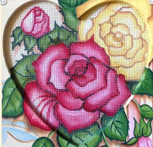 click here to view larger image of Rose Heart (hand painted canvases)