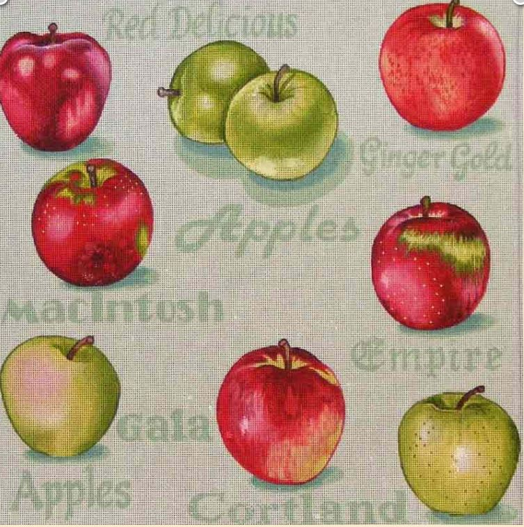 click here to view larger image of Apple Variety (hand painted canvases)