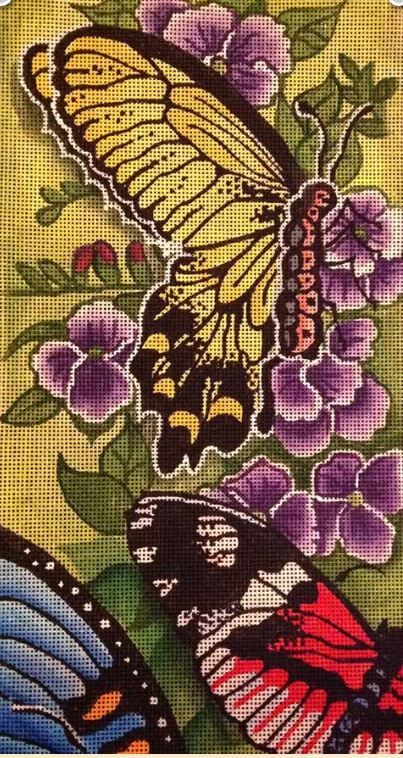 click here to view larger image of Butterfly Blooms (hand painted canvases)