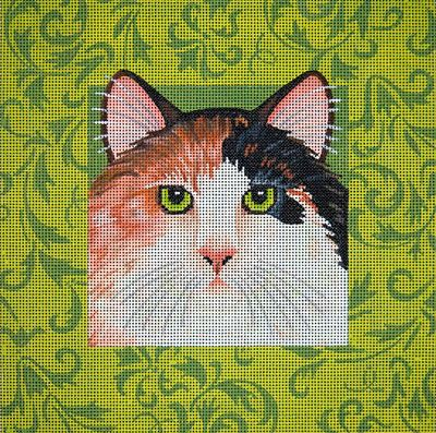 click here to view larger image of Calico Cat With Green Damask (hand painted canvases)