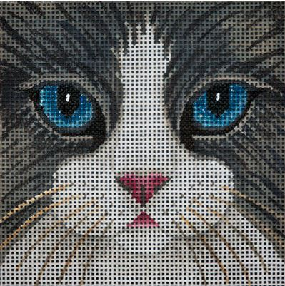 click here to view larger image of Black and White Cat Face - Large (hand painted canvases)