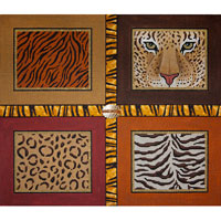 click here to view larger image of Animal Skins - Leopard Face With Ribbon (hand painted canvases)