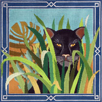 click here to view larger image of Black Panther in Jungle Leaves (hand painted canvases)