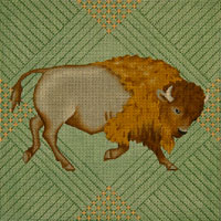 click here to view larger image of Bison Pillow (hand painted canvases)