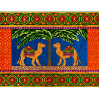 click here to view larger image of Camels and Palm Tree (hand painted canvases)