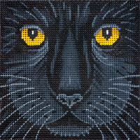click here to view larger image of Black Cat Face - Small (hand painted canvases)