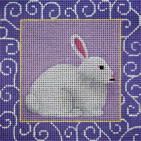 click here to view larger image of Bunny With Purple Swirls (hand painted canvases)