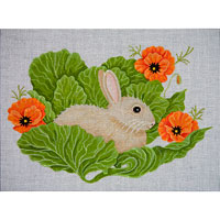 click here to view larger image of Bunny In Cabbage With Poppies (hand painted canvases)