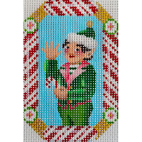 click here to view larger image of Boy Elf Candy Cane Ornament (hand painted canvases)