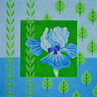 click here to view larger image of Blue Iris and Leaves (hand painted canvases)