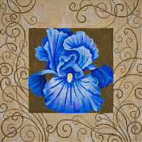 click here to view larger image of Blue Iris and Swirls (hand painted canvases)