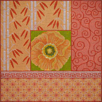 click here to view larger image of Orange Poppy and Bamboo on Peach (hand painted canvases)