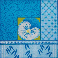 click here to view larger image of Pansy and Bamboo on Blue (hand painted canvases)