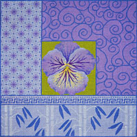 click here to view larger image of Pansy and Bamboo on Purple (hand painted canvases)