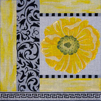 click here to view larger image of Black White and Yellow Patch With Poppy (hand painted canvases)