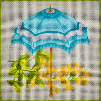 click here to view larger image of Teal Parasol Floral (hand painted canvases)