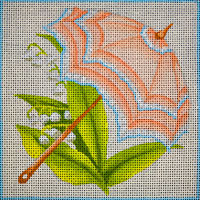 click here to view larger image of Peach Parasol Floral (hand painted canvases)