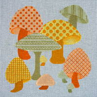 click here to view larger image of Patterned Mushrooms (hand painted canvases)