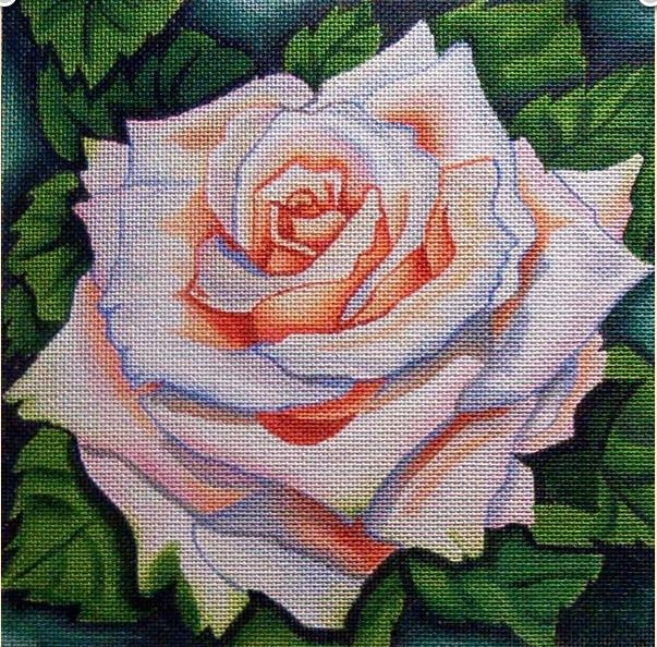 click here to view larger image of Peach Rose (hand painted canvases)