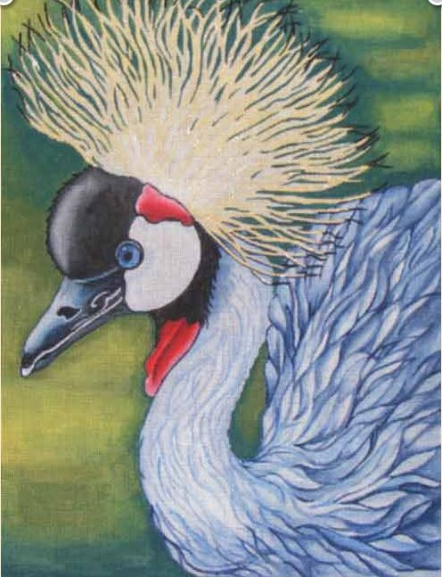 click here to view larger image of Crested Crane (hand painted canvases)