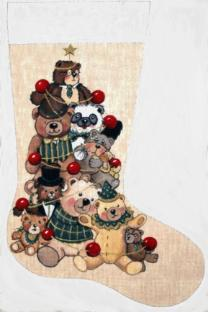 click here to view larger image of Amandas Bears Stocking (hand painted canvases)