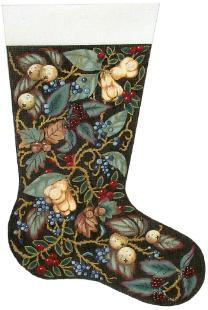 click here to view larger image of Victorian Christmas Stocking (hand painted canvases)