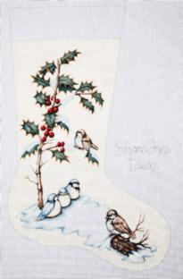 click here to view larger image of Birds and Berries Stocking (hand painted canvases)
