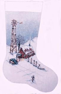 click here to view larger image of Winter Windmill Stocking (hand painted canvases)