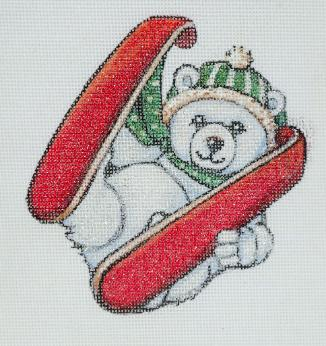 click here to view larger image of Baby Polar Bear With Skis Ornament (hand painted canvases)