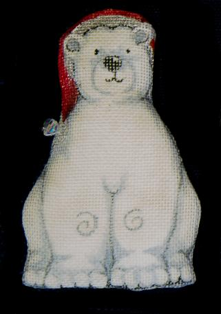 click here to view larger image of Polar Bear With Santa Cap Ornament (hand painted canvases)