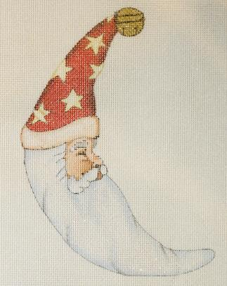 click here to view larger image of Moon Santa Ornament (hand painted canvases)