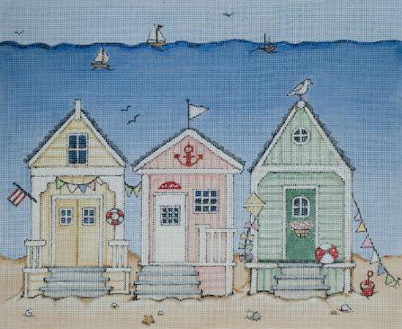 click here to view larger image of Beach Huts (hand painted canvases)