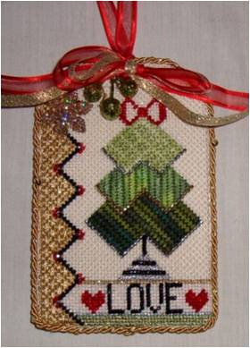 click here to view larger image of Love Tag Ornament (hand painted canvases)