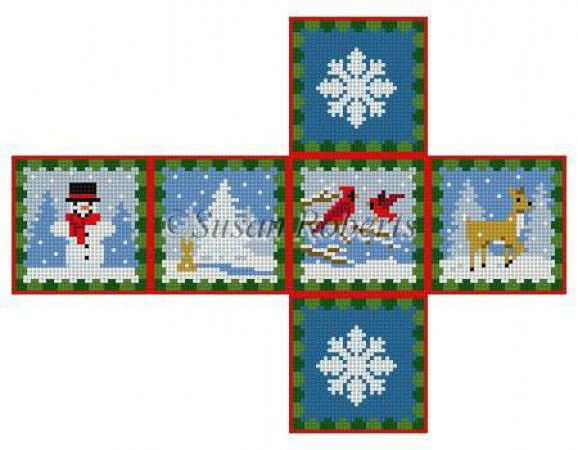 click here to view larger image of Woodland Snow Day Cube Ornament - 18ct (hand painted canvases)