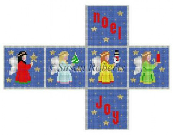 click here to view larger image of Noel Joy Angels Cube Ornament - 18ct (hand painted canvases)