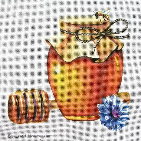 click here to view larger image of Bee And Honey Jar (hand painted canvases)
