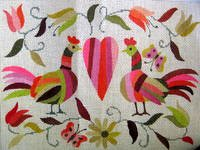 click here to view larger image of Mexican Chicken Valentine (hand painted canvases)