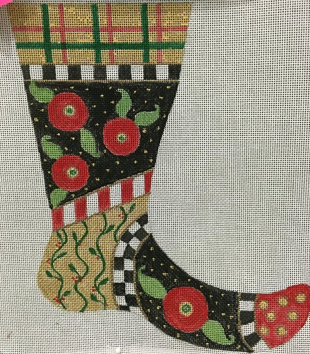 click here to view larger image of Mini Stocking With Flowers (hand painted canvases)