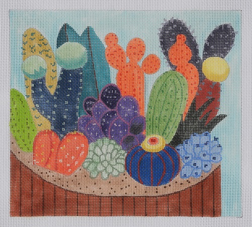 click here to view larger image of Dish Of Cacti (hand painted canvases)