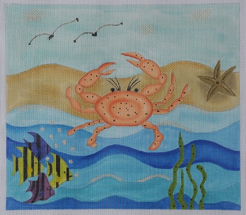 click here to view larger image of Large Crab With Fish (hand painted canvases)