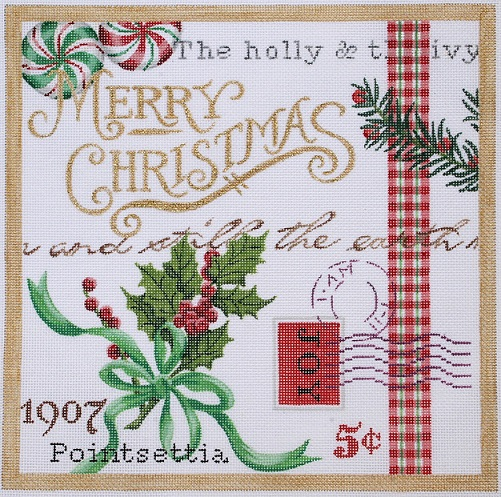 Christmas Collage 2 - Holly and Peppermints hand painted canvases