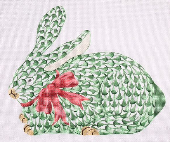 click here to view larger image of Christmas Crouching Bunny (hand painted canvases)