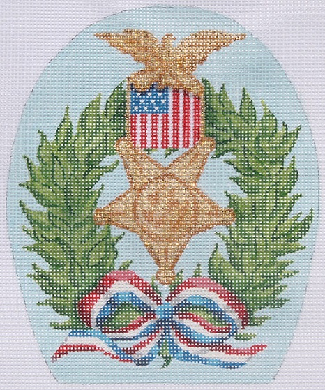 click here to view larger image of Memorial Day Wreath With Medal and Patriotic Ribbon (May) (hand painted canvases)