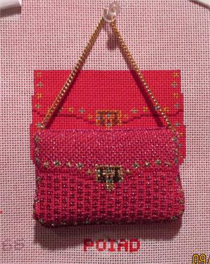 click here to view larger image of Hot Pink Mini Purse Ornament (hand painted canvases)